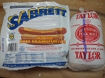 Sabrett 5 LBs All Beef Skinless Hot Dogs AND 3 LBS Taylor Pork Roll